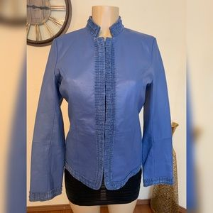 Pamela McCoy Blue Genuine Leather Jacket
